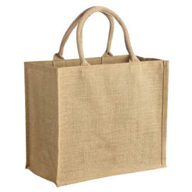 Foldable Jute Shopping Tote Bag / Reusable Market Bags With Cotton Handles
