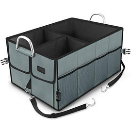 China Grey Color Minivan / Car Trunk Organizer Bag Auto Trunk Storage With Straps factory