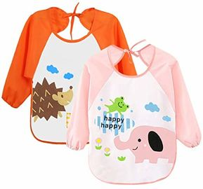 China Cute Unisex Baby Bibs / 6 Months-3 Years Baby Weaning Bibs With Sleeves factory