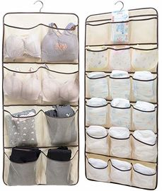 China Dual Sided Hanging Underwear Storage Bag With 26 Mesh Pockets & Rotating Metal Hanger factory