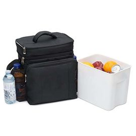 Two Compartments Insulated Food Cooler Bags With Removable Leak Proof Plastic Hardliner Bucket
