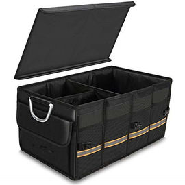 Heavy Duty Black Sturdy Car Trunk Organizer Bag With Foldable Cover Waterproof