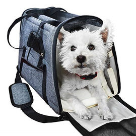 Portable  Airline Approved Pet Carrier Bag With Backpack Belt Safety Locked Zippers