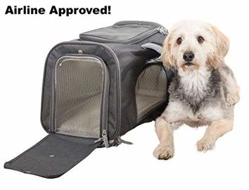 Sturdy Deluxe Pet Travel Carrier Airline Approved Cat Carrier Bag With Mesh Windows
