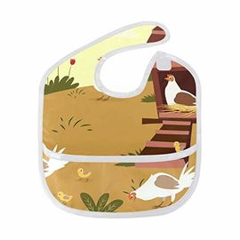 Farm Poultry Cock Chicken Baby Apron Bib For Toddler 6-24 Months Boys & Girls