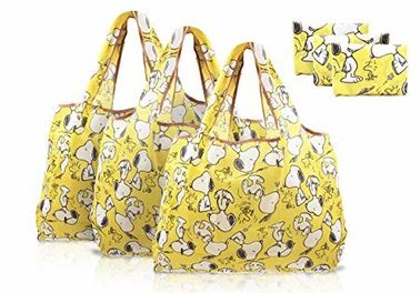 Personalized Foldable Reusable Shopping Bags , Food Shopping Bags Snoopy Cartoon
