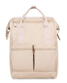 Khaki Canvas College Bags , Travel School Backpack With USB Charging Port