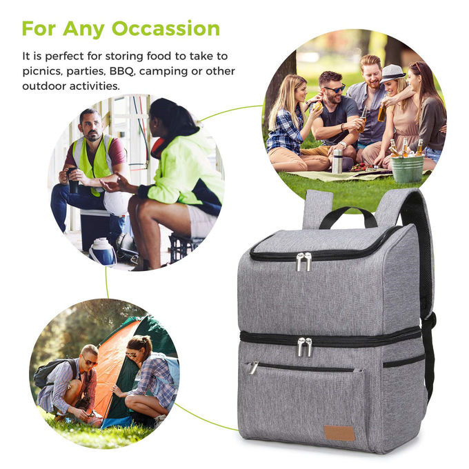 18L 34 Can Beer Cooler Backpack , Double Decker Insulated Backpack Lunch Box