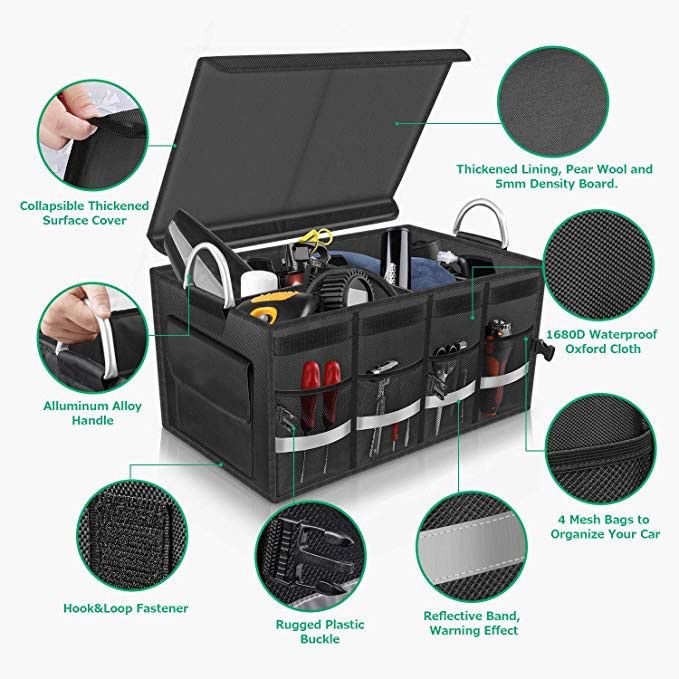Multi Compartments Car Trunk Organizer Bag Vehicle Trunk Storage Large Storage Capacity