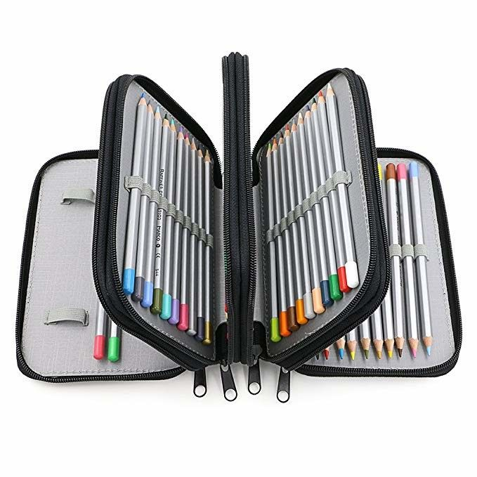 Portable Oxford Zipper Pencil Bag 72 Slots Colored Pencil Case Organizer Black