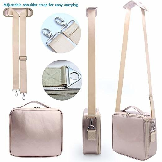 Rose Gold Travel Makeup Train Case , Makeup Storage Bag With Adjustable Shoulder Strap