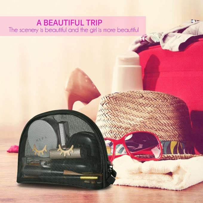 Black See Through Makeup Bag , 9x6 Mesh Cosmetic Bags For Stylish Eyelashes