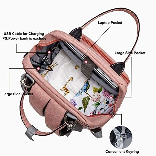 Canvas Mummy Diaper Bag / Baby Travel Changing Bag With Laptop Pocket USB Charging Port